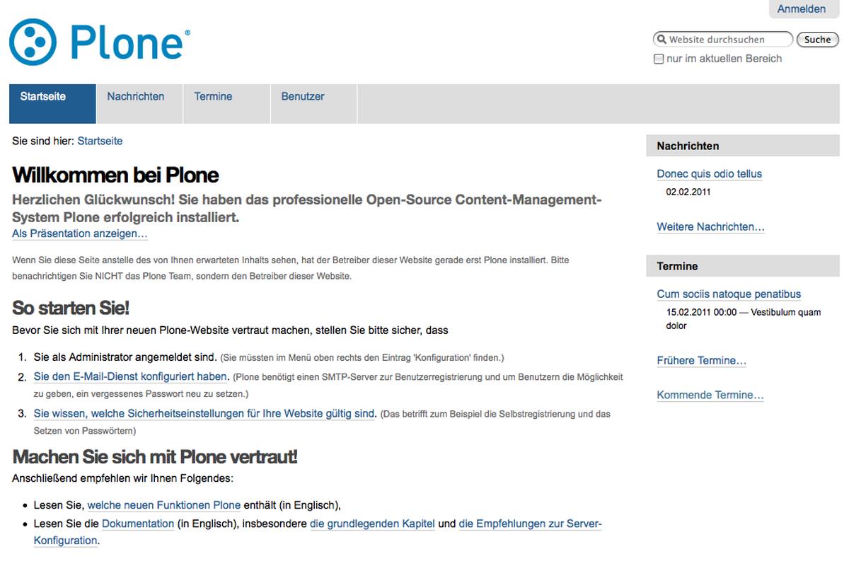 Plone 4.0 nach der Installation